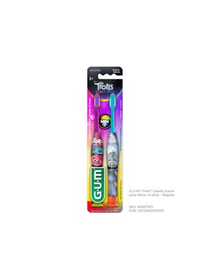 Gum Cepillo Dental Trolls Suave Regular para Niños