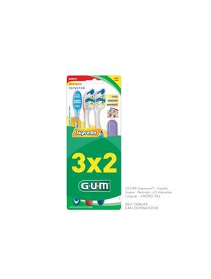 Gum Cepillo Dental Supreme Suave con Limpiador Lingual Pack 3x2