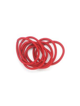 12 gomitas para cabello redondas en color rojo